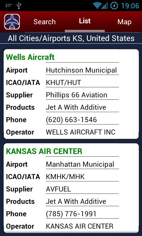 AIR Card® FBO Locator- screenshot