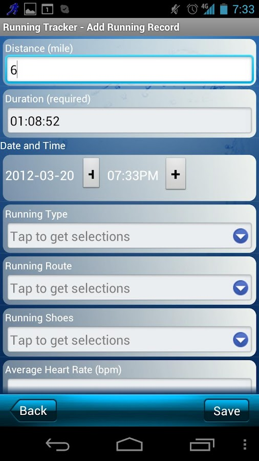 Running Tracker- screenshot