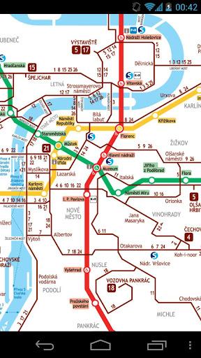 布拉格地鐵和電車地圖