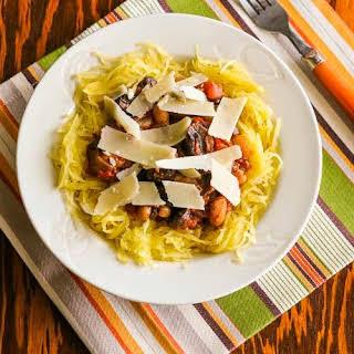 Slow Cooker White Bean, Mushroom, and Rosemary Spaghetti Squash Bowl.