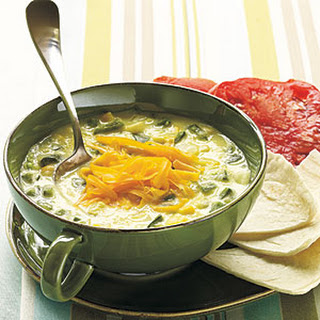 Spicy Poblano and Corn Soup.