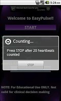 Screenshot of EasyPulse (heartbeat estimate)