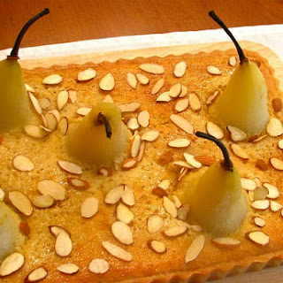 Frangipane Tart with Amaretto & Honey Poached Pears.