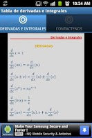 Screenshot of Tabla Derivadas e Integrales