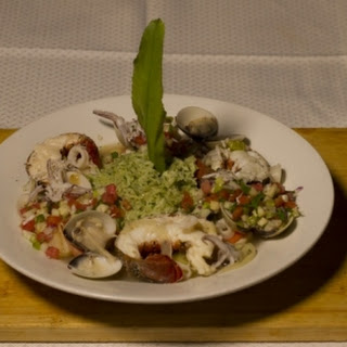 Tobago Fish Pot with Coconut Coriander Rice and Salsa Tropical