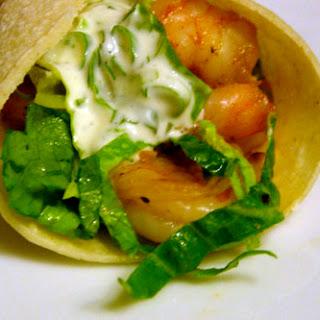 Shrimp Tacos with Lime-Cilantro Crema.