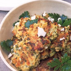 Courgette and Potato Cakes with Mint and Feta Cheese