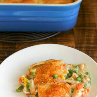 Chicken Pot Pie with Puff Pastry Crust.