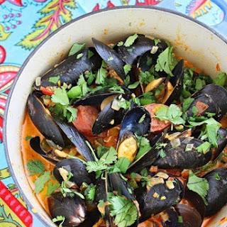 Spanish Mussels with Chorizo and Tomato-Wine Sauce.