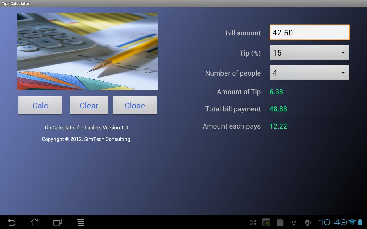 Tip Calculator for Tablets- screenshot