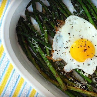 Grilled Asparagus with Sunny Side Up Eggs and Parmesan.