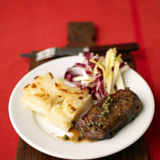 Steak with Wine Sauce and Potato Gratin.