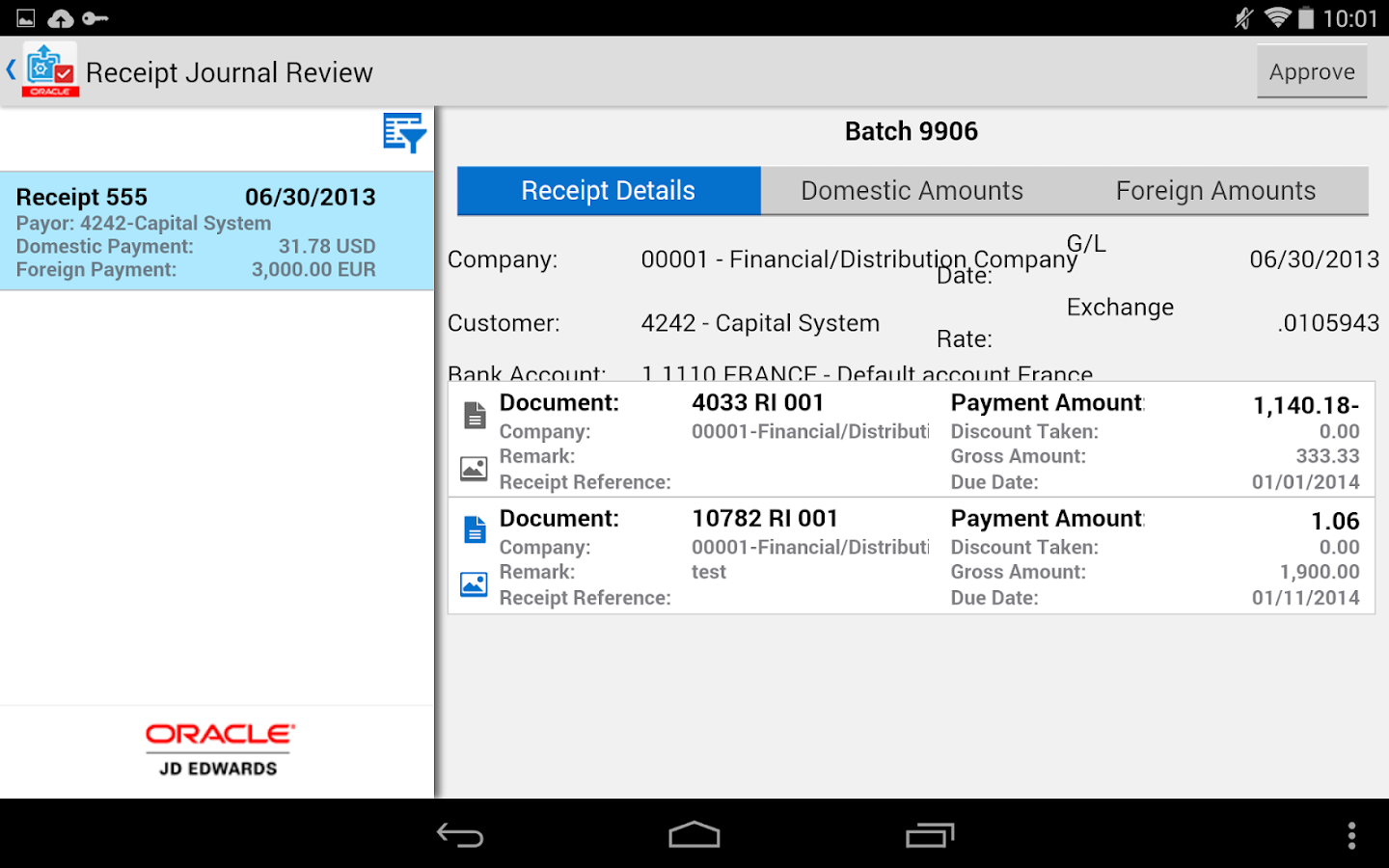 Receipt Batch Appr - JDE E1- screenshot