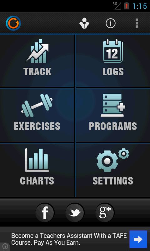 Gymprovise Workout Tracker/Log- screenshot