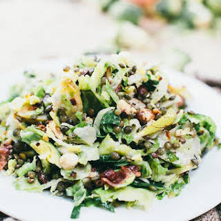 Shaved Brussels Sprouts, Lentils, Bacon, and Pear Salad.