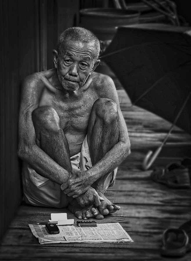 Comtemplation by Elaine Chong - Black & White Portraits & People