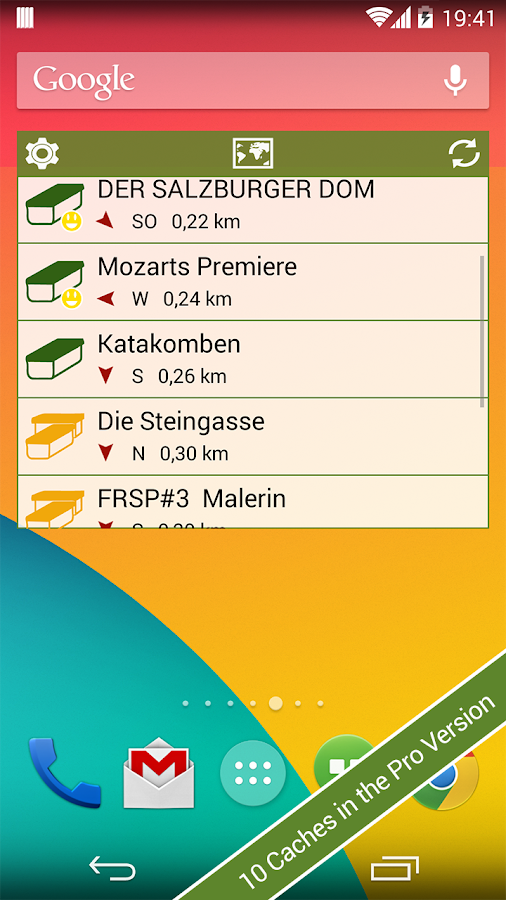 Geocaching Widget - screenshot