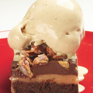 Layered Brownies with White-Chocolate Caramel and Cocoa Nib Gelato.