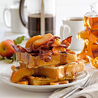 Waffles with Cinnamon-Sautéed Apples and Bacon