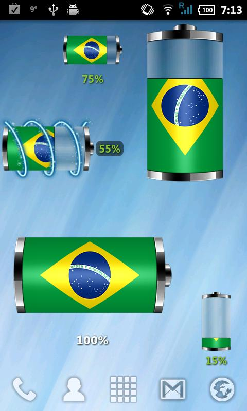 Brazil: Flag Battery Widget- screenshot