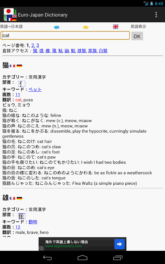 Euro-Japan dictionary - screenshot