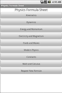 Free Physics Formula Sheet - screenshot thumbnail