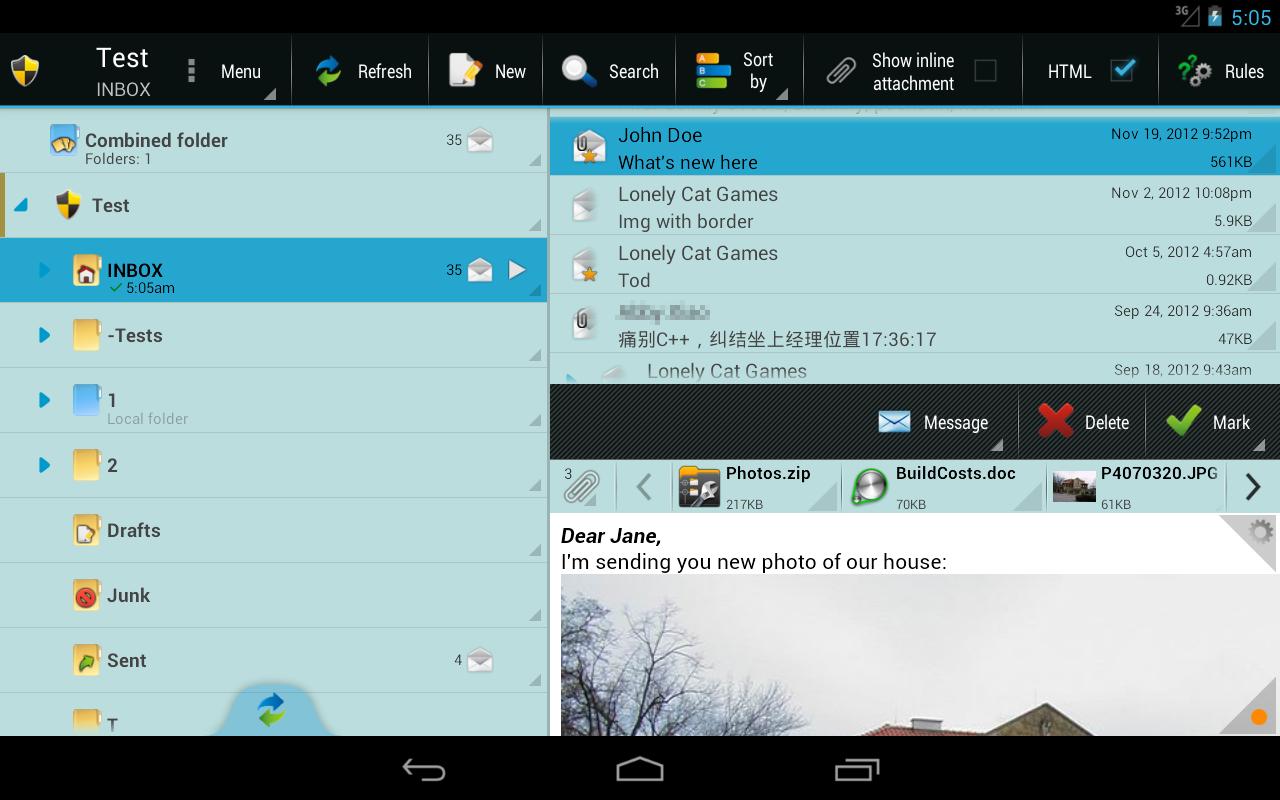 E mail client background image - Profimail Go Email Client Screenshot