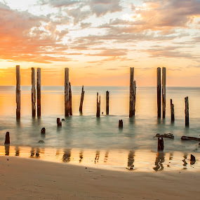 Positive Influences by Sharon Wills - Landscapes Waterscapes ( water, port willunga, south australia, 2014, sunset, sea, ocean, beach,  )