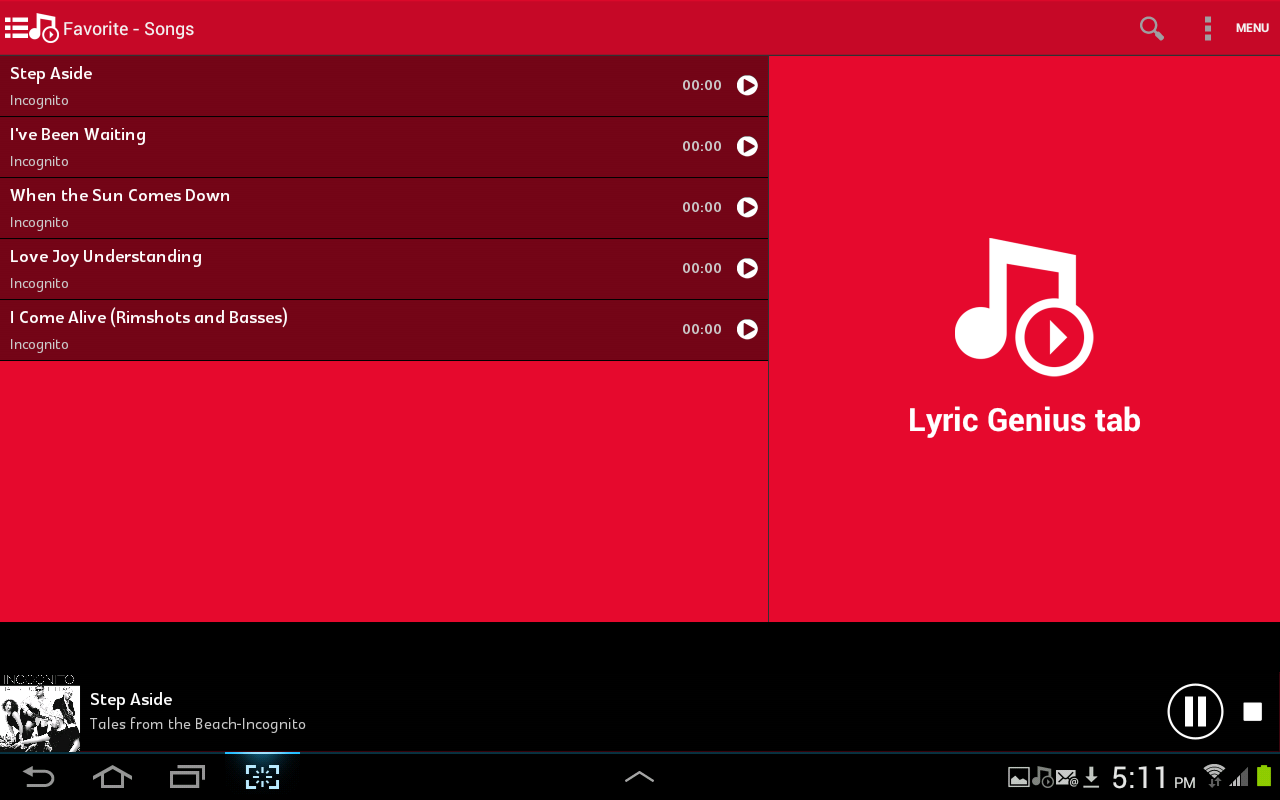 Lyric Genius Tab- screenshot