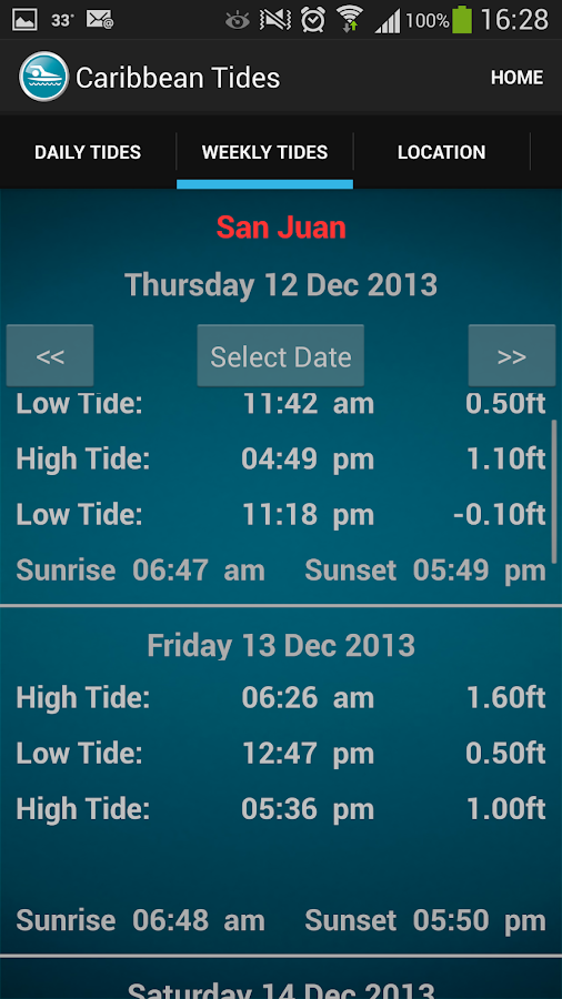 Caribbean Tide Times - screenshot