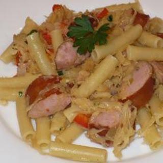 Pasta with Kielbasa and Sauerkraut.