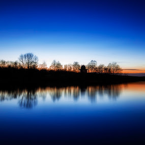 REFLECTING THE TEMPLE by Ian Taylor - Landscapes Waterscapes ( temple, water, reflection, minerva, sky, park, blue, sunset, hardwick )