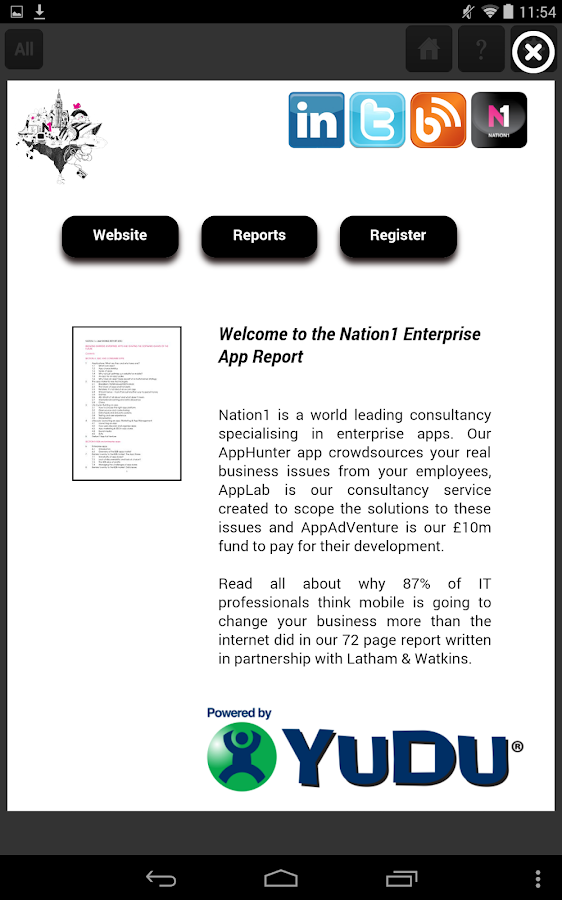 Screenshots of Nation1 Enterprise App Report for iPhone