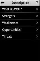 Screenshot of SWOT Analysis