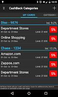 Screenshot of CashBack Categories