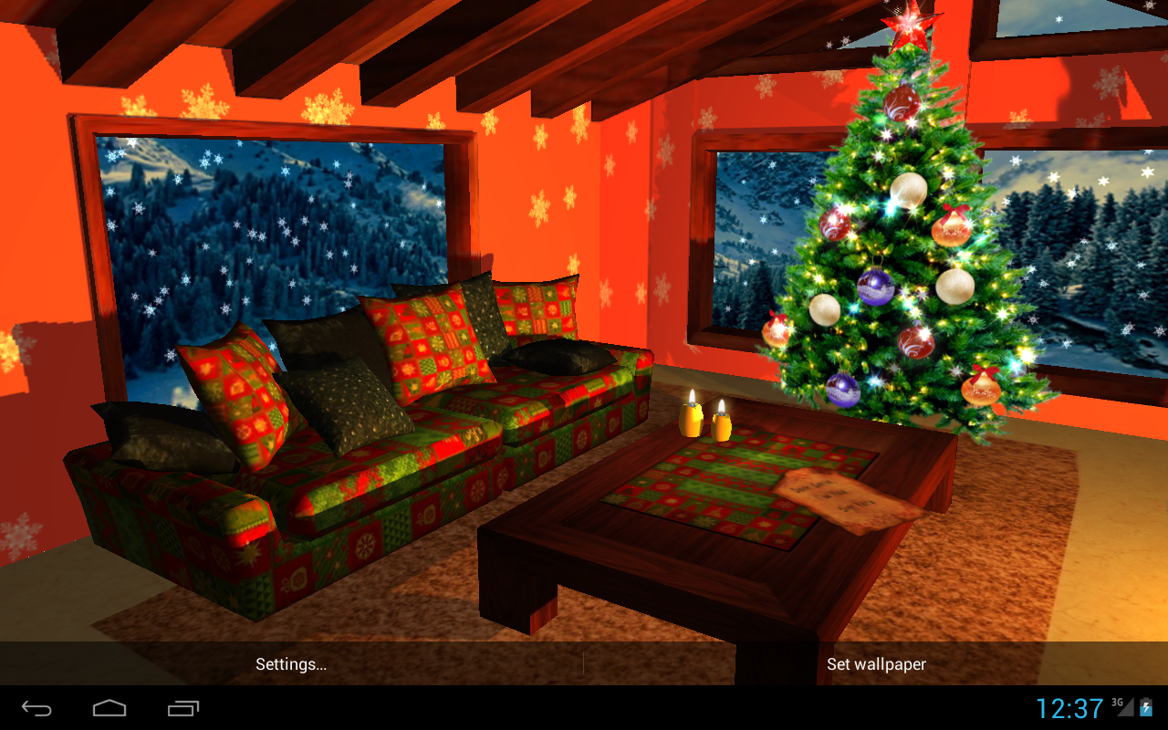 3D Christmas Fireplace HD Live Wallpaper- screenshot