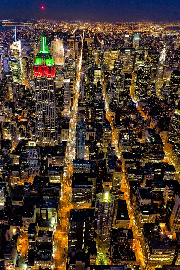 Life In The Big Apple by Karen Celella - Buildings & Architecture Office Buildings & Hotels ( lights, helicopter, urban, lifestyle, manhattan, night, nyc, urban landscape, city, Urban, City, Lifestyle, city at night, street at night, park at night, nightlife, night life, nighttime in the city,  )