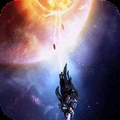 Spaceship attacking planet LWP
