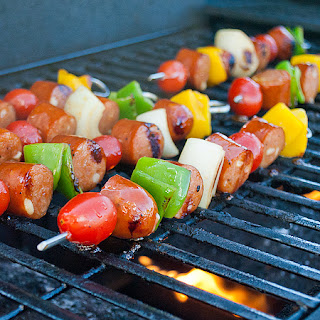 Chicken Sausage and Lime Kabobs.