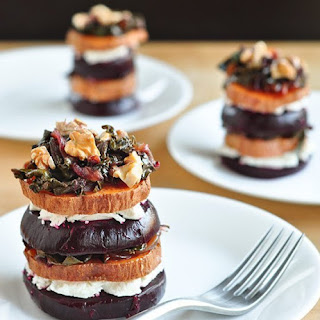 Warm Beet and Sweet Potato Stacks