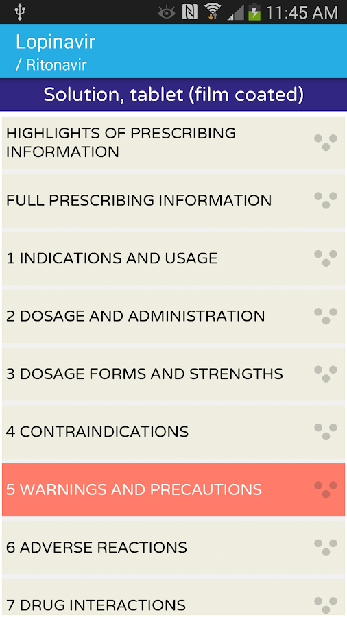 AIDSinfo Drug Database- screenshot