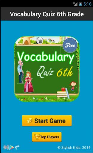 Vocabulary Quiz 6th Grade