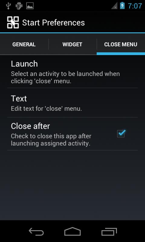 Start menu for Android - screenshot