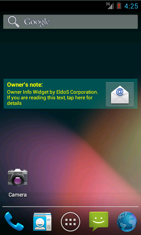 Owner Info Widget - screenshot