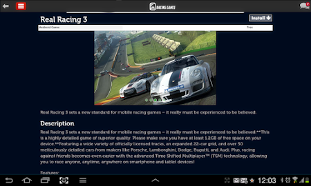 Racing Games Access For Tablet 1.0 screenshot 68229