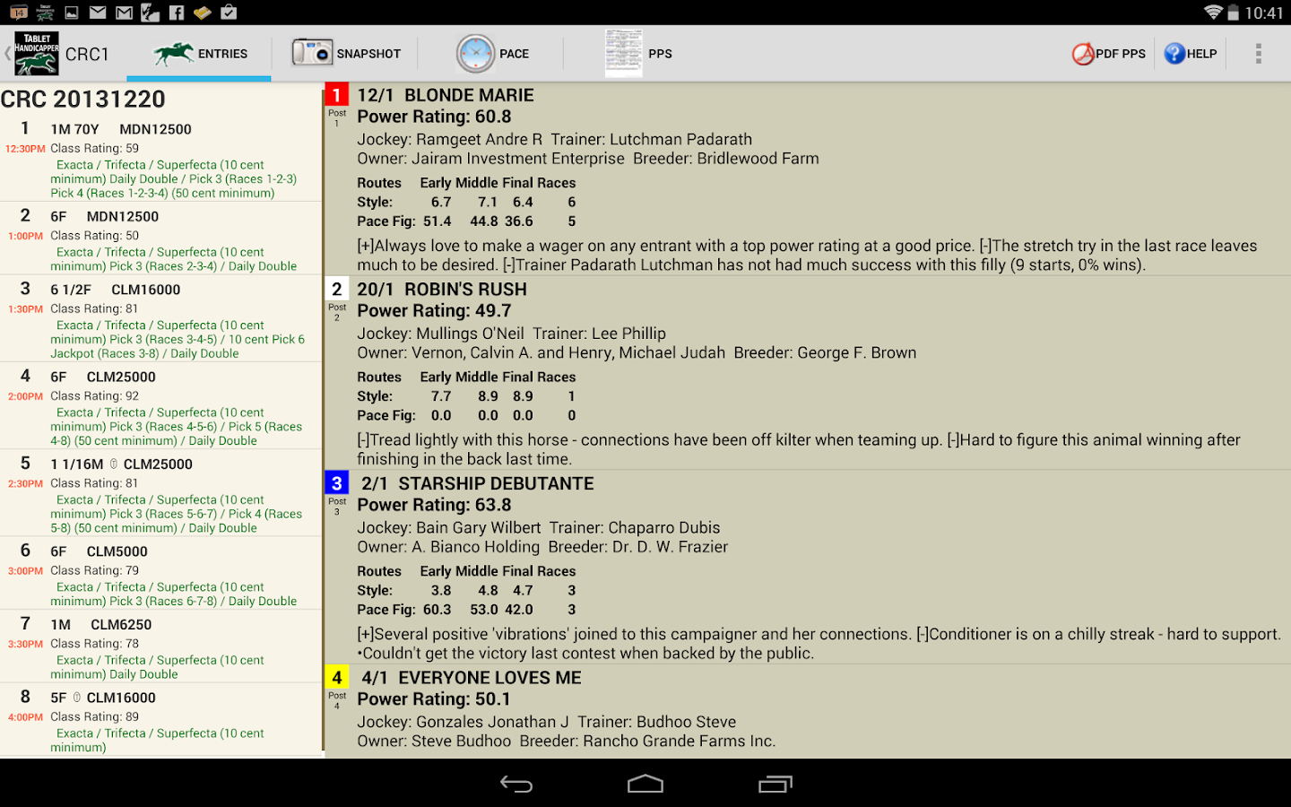 TrackMaster Tablet Handicapper - screenshot