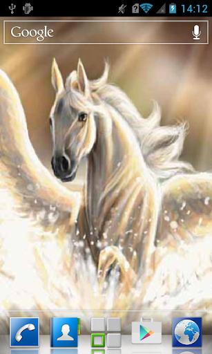 White horse in splashes LWP