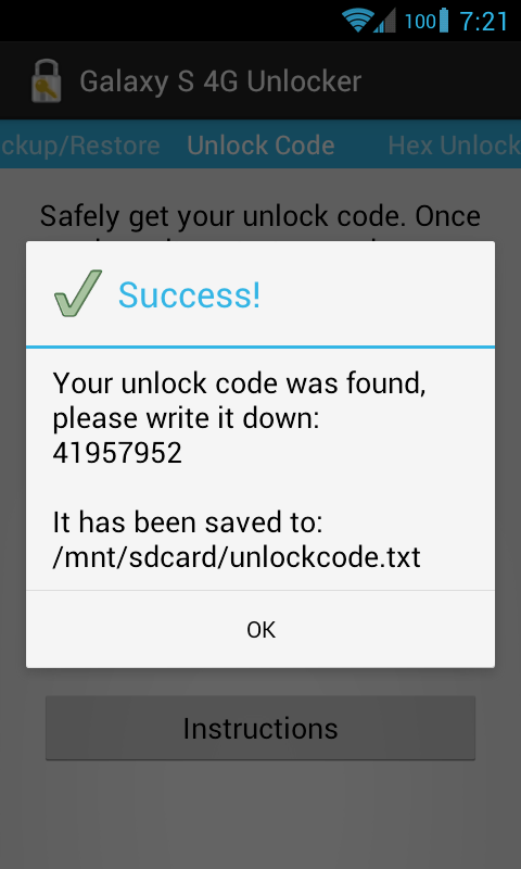 [ROOT] Galaxy S 4G Unlocker- screenshot