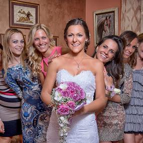 girls by Jovan Barajevac - Wedding Bride ( girls, bridesmaids, dress, wedding, smile, bride, flower )