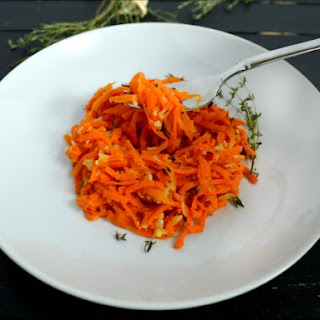Carrot Pasta with Garlic Thyme Sauce.